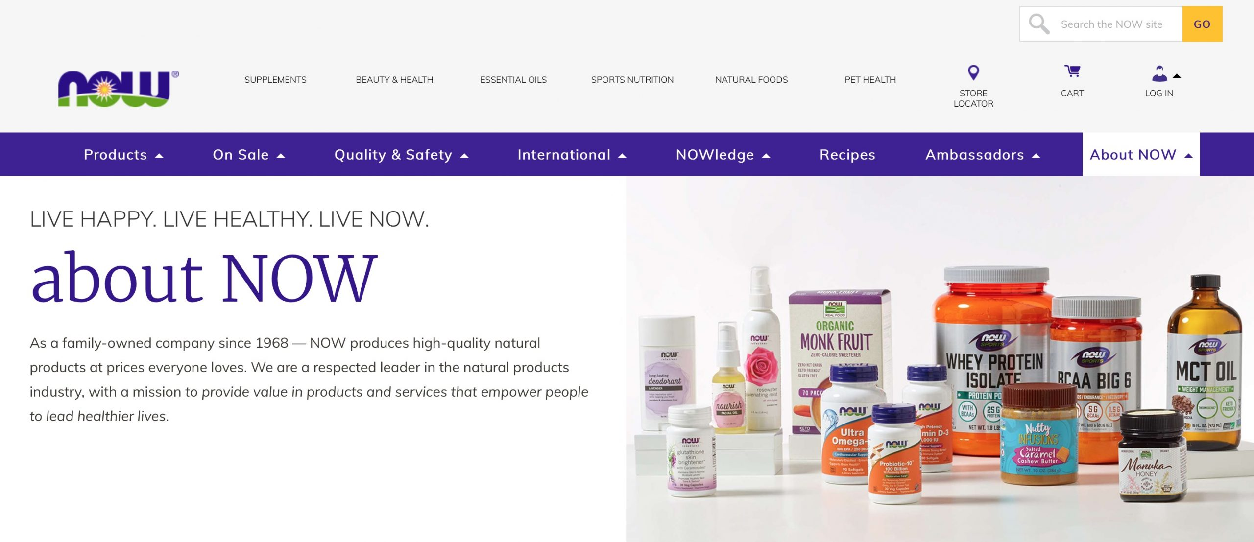 NOW Foods main page